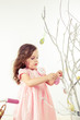 Girl decoration spring branches