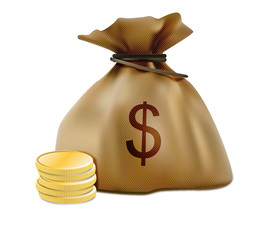 Money sack and stacked coins realistic icon