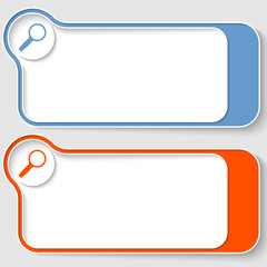 set of two abstract text boxes with magnifier