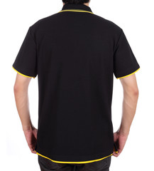 blank polo shirt (back side) on man