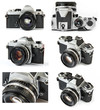 Classic film SLR camera collage