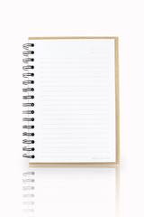 Opened notebook with shadow effect isolated on white, clipping p