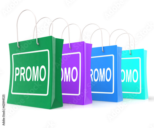 Promo Shopping Bags Shows Discount Reduction Or Save