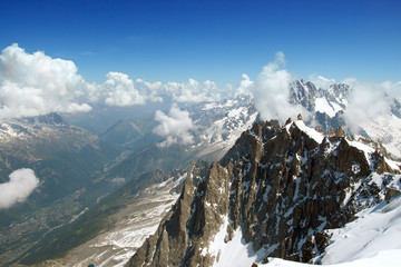 The view of alpian mountains and Chamonix's valley