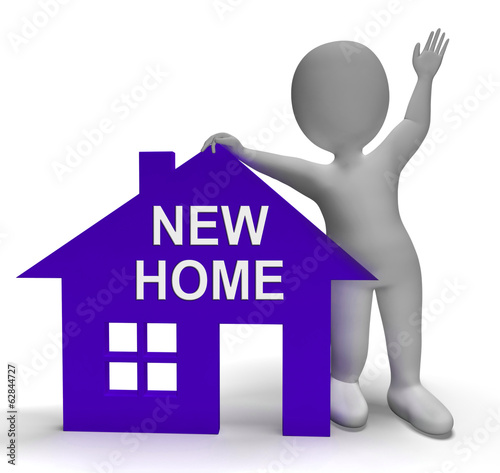 New Home House Shows Buying Property And Moving In