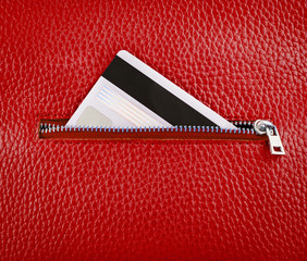 Unzip leather wallet with card.