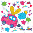 Cheerful children's pattern with cars.