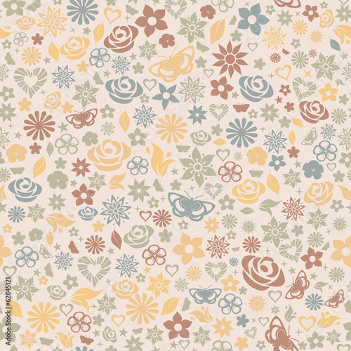 Multicolored seamless pattern of flowers