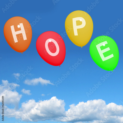 Four Hope Balloons Represent Wishes Dreams Goals and Hopes