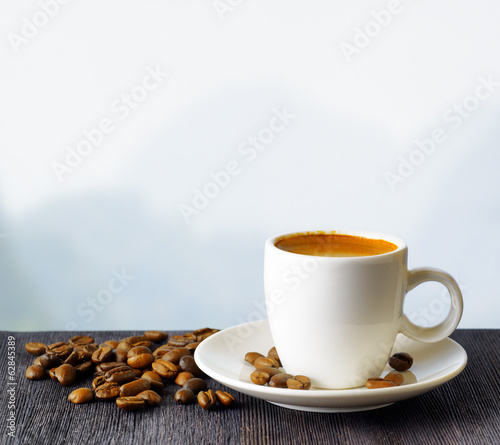 Fotobehang Cafe Cup of coffee on highlands background