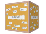 Malware 3D cube Corkboard Word Concept poster