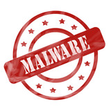 Red Weathered Malware Stamp Circles and Stars poster