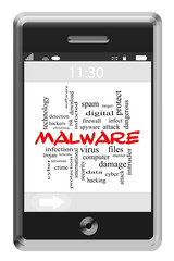 Malware Word Cloud Concept on Touchscreen Phone