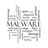 Malware Word Cloud Concept in black and white poster