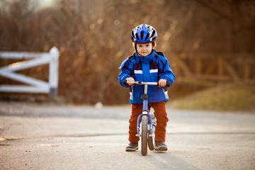 Boy on a balance bike