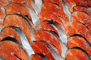 Fresh slices of salmon