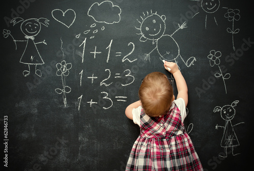 baby girl pupil draws a chalk on blackboard