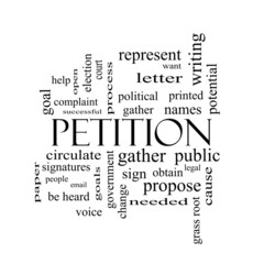 Petition Word Cloud Concept in black and white