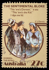 Stamp printed in Australia, shows The Sentimental Bloke