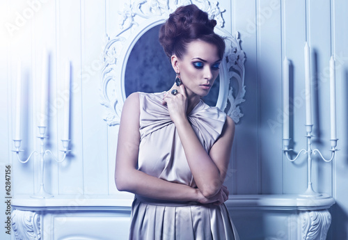 High fashion shot of young beautiful woman