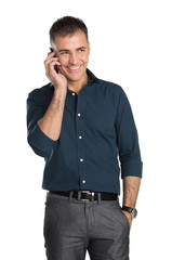 Smiling Man Talking On Cell Phone