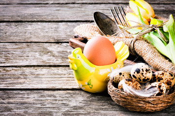 Easter  table setting with quail eggs