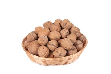 walnuts in a wicker basket