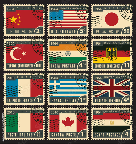 set of stamps with flags of different countries