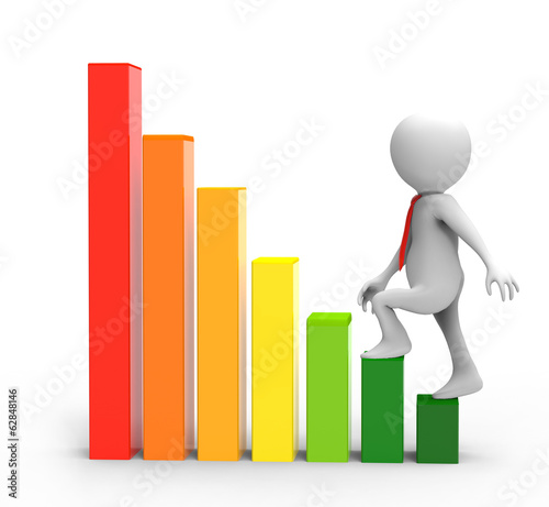 3d businessman on a graph