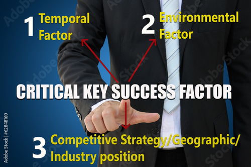 Businessman pointing critical key success factor