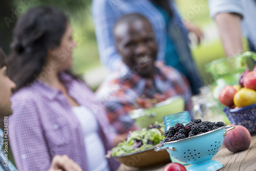 A summer party outdoors. A group of friends at a table.