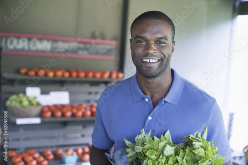 An organic fruit and vegetable farm. A man carrying vegetables.