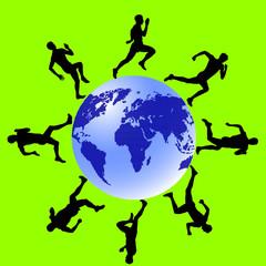 Silhouettes, athletes run around the globe. vector illustration.