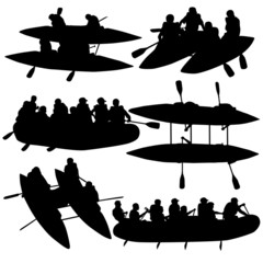 Silhouette collection people rafters on boats,  catamaran and ka