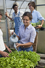 Two young men working in a large greenhouse, tending and sorting trays of seedlings, and a woman watering plants.