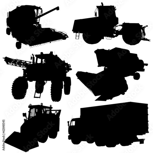 Agricultural vehicles silhouettes set. Vector illustration.