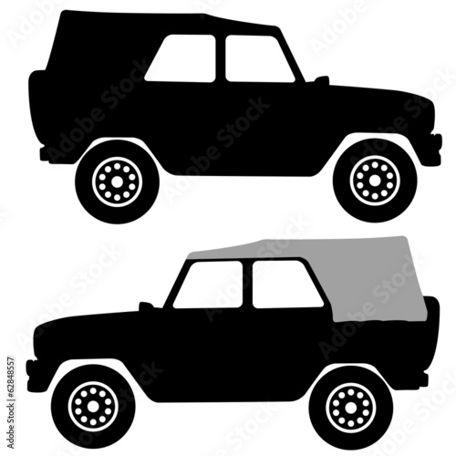 Set black silhouettes  cars on white background. Vector illustra