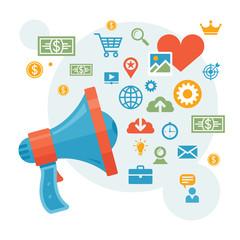 Marketing & Advertising - Loudspeaker Concept Illustration