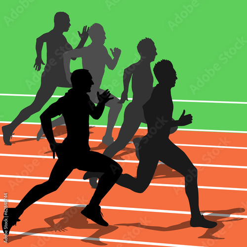 Silhouettes, athletes running in the stadium. vector illustratio