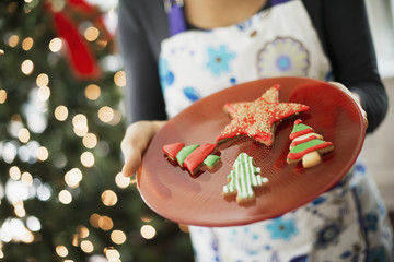 A woman wearing an apron holding a plate of organic decorated Christmas cookies.
