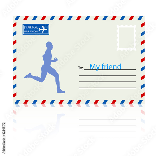 Silhouettes, athlete runs on the mail envelope. vector illustrat
