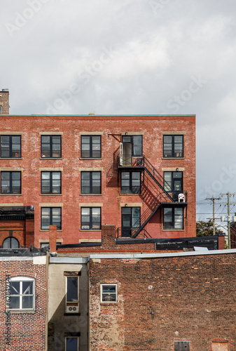 Iron Fire Escapes on Old Brick Buildings