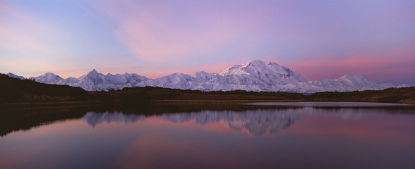 Sunset, Mount McKinley in Denali National Park, Alaska reflected in Reflection Pond.