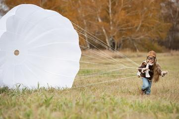Young female pilot parachute