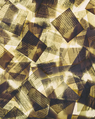 Squares of overlapping pieces of paper from old books, lit from below. Printed pages, yellowing and ageing.