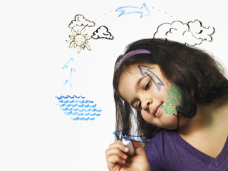 A young girl drawing the water evaporation cycle on a clear see through surface with a market pen.