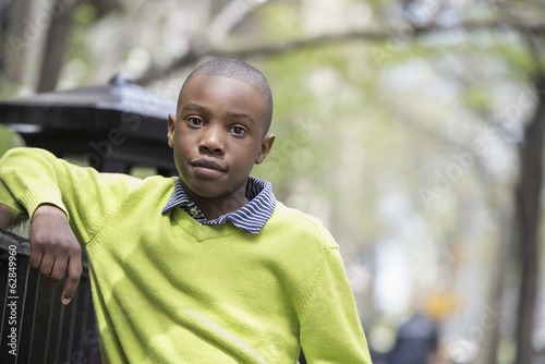A New York city park in the spring. Sunshine and cherry blossom. A boy in a green shirt leaning on a fence.