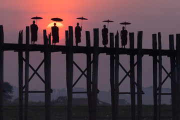 Monks on the U Bein Bridge, Amarapura, Myanmar