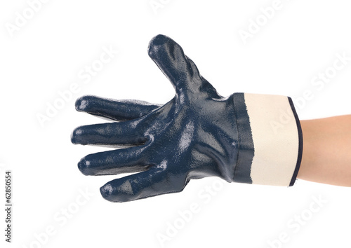 Rubber protective blue glove