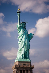 The Statue of Liberty is a national symbol and stands overlooking New York harbour on the Hudson river.